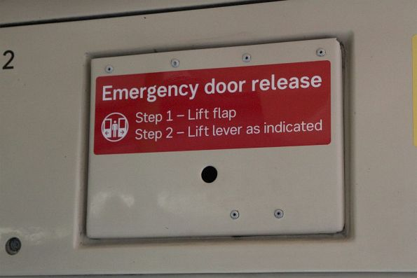 New style emergency door release sticker onboard life extension tram Z3.156