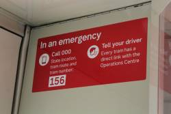 New style emergency instruction sticker onboard life extension tram Z3.156