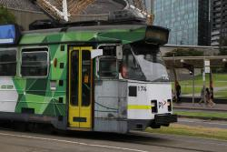 Yarra Trams grey livery showing on the side of Z3.174, following the removal of the advertising panel