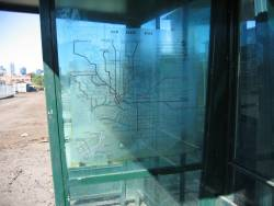 Translucent network map on the M&MTB 1974 style tram stop shelters