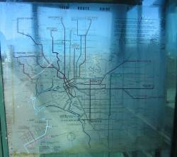 Close up of the translucent M&MTB 1978 tram network map
