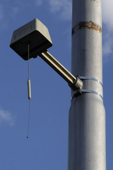 Automatic Vehicle Monitoring (AVM) antenna outside the Carnegie terminus