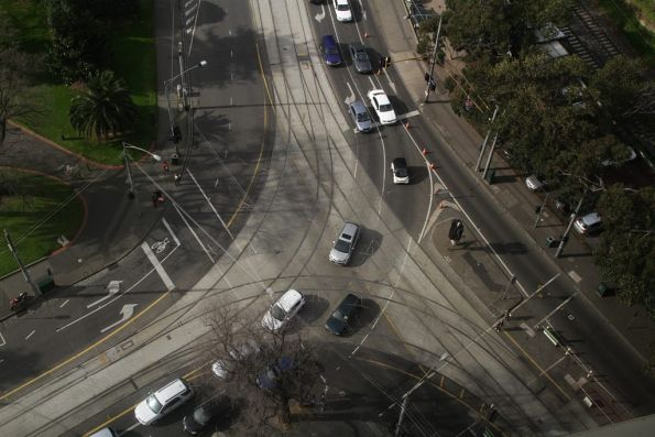 Triangle junction at the corner of Flinders Street, Spring Street, and Wellington Parade