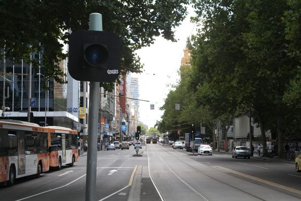 Non-functional T light used to indicate a 'green run' down Flinders Street