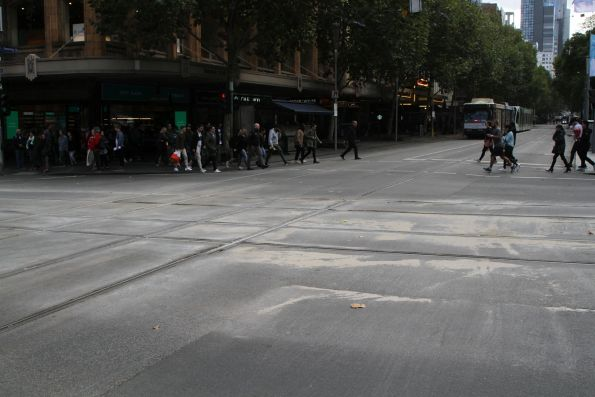 Plenty of sand washed down the hill at Swanston and Collins Street