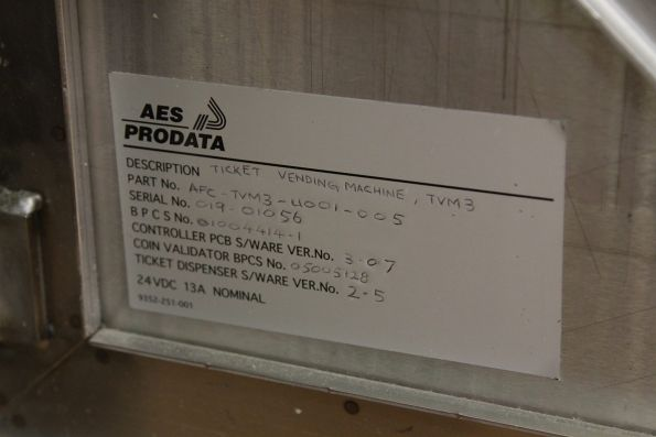 AES Prodata sticker inside a MVM3 ticket machine