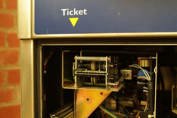 Metcard dispenser fitted to a tram mounted MVM3 ticket machine