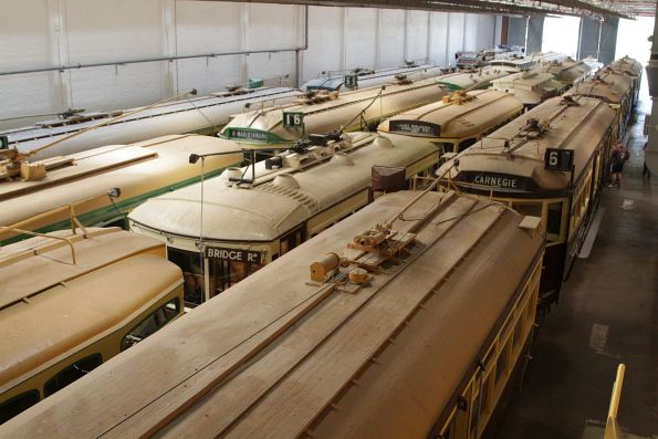 Roof view of the Melbourne Tram Museum collection at Hawthorn Depot