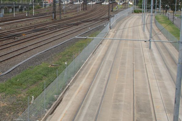 Melbourne Park tram siding situated between the running lines