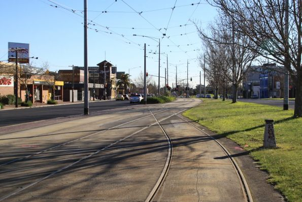 City end of the Caulfield Siding, located in the middle of Dandenong Road