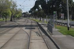 Looking west along the South Melbourne tram siding, and the crossover linking it to the citybound track