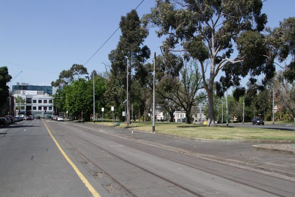 Simpson Street tram siding at the end of Wellington Parade