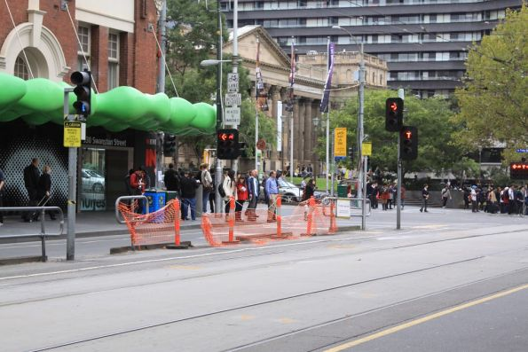 Decommissioned tram stop on Swanston Street, due to the new platform stop at Melbourne Central Station