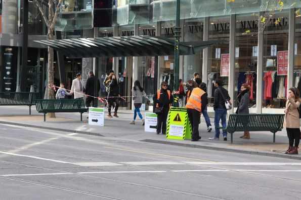 Closed tram stop at Swanston and Lonsdale Streets