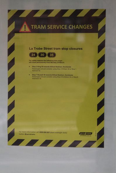Notice of two closed tram stops on La Trobe Street due to 'safety reasons'