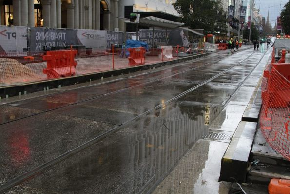 Platform stop works at the west end of the Bourke Street Mall