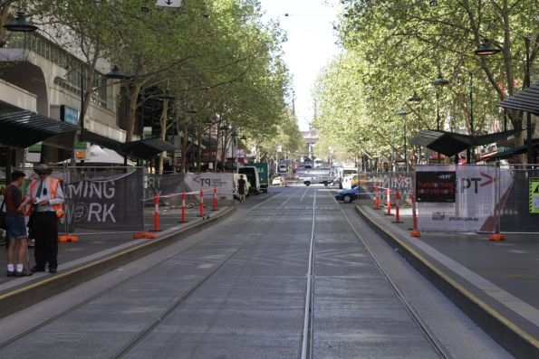 Resurfacing works about to start at the east end of the Bourke and Swanston Street platform stop