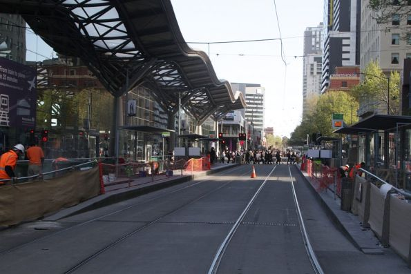 Resurfacing works continue at the Southern Cross Station platform stop on Spencer Street
