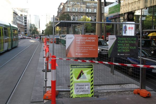 Resurfacing works almost completed at the south end of the Southern Cross Station platform stop on Spencer Street