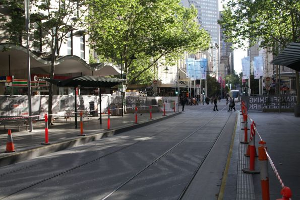 Resurfacing works about to start at the west end of the Bourke and Swanston Street platform stop