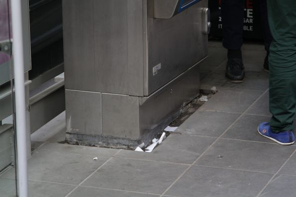 Gap left between the myki machine and a resurfaced platform stop on Collins Street