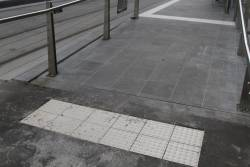 Ramp leading up to the resurfaced tram stop outside Southern Cross Station
