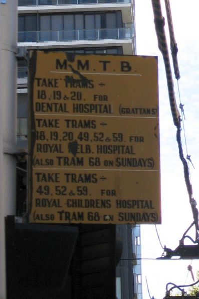 MMTB-era tram route directions at the Elizabeth Street tram terminus