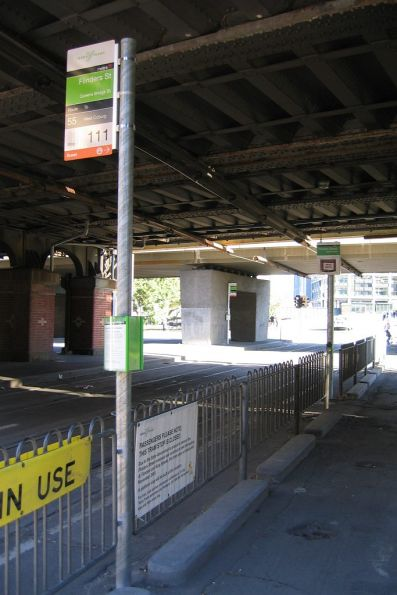 Tram stop on Queensbridge Street at Flinders Street