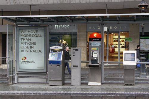 More QR National advertising, this time at a Melbourne tram stop: Collins and Swanston Streets