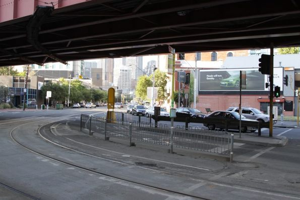 Adjacent bus and tram stops on Queensbridge Street at City Road