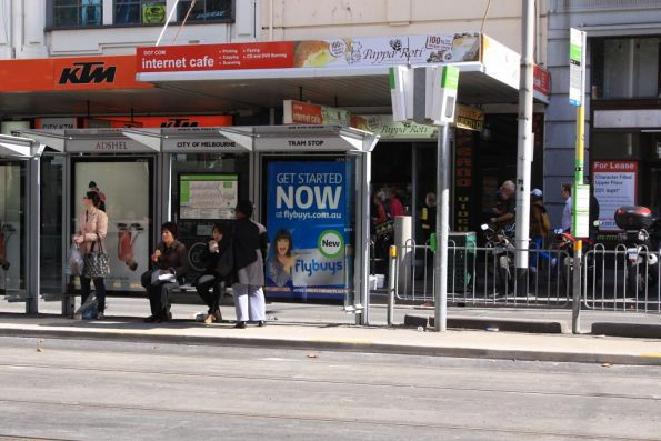 Tram stop on Elizabeth Street at La Trobe Street