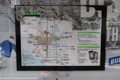 Yarra Trams network map outside Southern Cross Station, previously covered by advertising