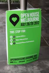 Directional signs for Melbourne Open House 2012 at a tram stop