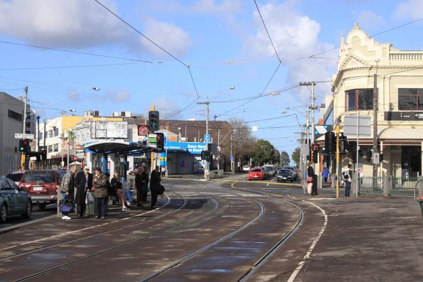 Tram stop for route 59 at Moonee Ponds Junction looking south towards the route 82 terminus