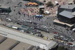 Overhead view of the Federation Square tram stop