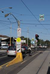 Tram stop and safety zone prowl on Racecourse Road at Boundary Road, Flemington