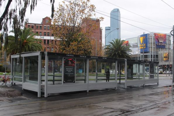 New tram shelter for Colonial Tramcar Restaurant passengers at the corner of Whiteman and Clarendon Streets