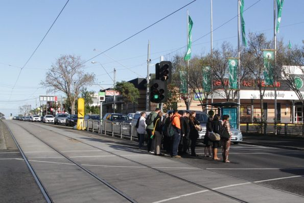 Passengers changing from tram to train at Newmarket railway station