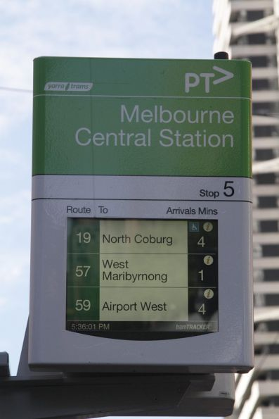 'Wheelchair accessible' icon now displayed for route 19, after the redeployment of D2 class trams to the service