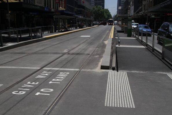 'Give way to trams' message at the end of the new Elizabeth Street tram stops