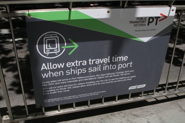'Allow extra travel time when ships sail into port' notice for route 109 passengers