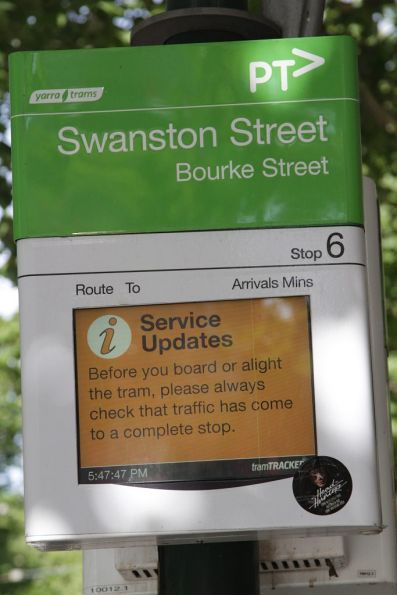 Another screen space wasting message from Yarra Trams