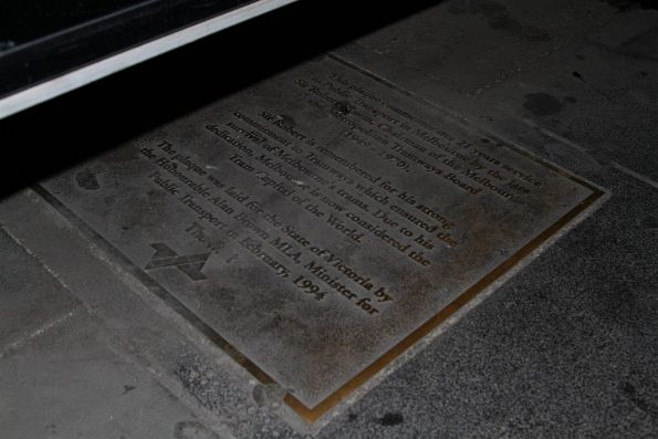 Plaque marking the dedication of the Sir Robert Risson tram terminus on Elizabeth Street