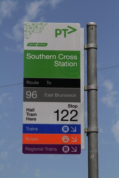 Change to buses, trains and regional trains at Southern Cross Station, but only route 96 trams