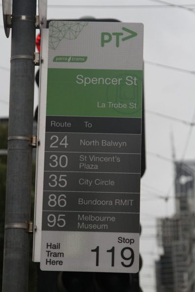 Five tram routes along La Trobe Street - but you still have to wait for ages for a tram!