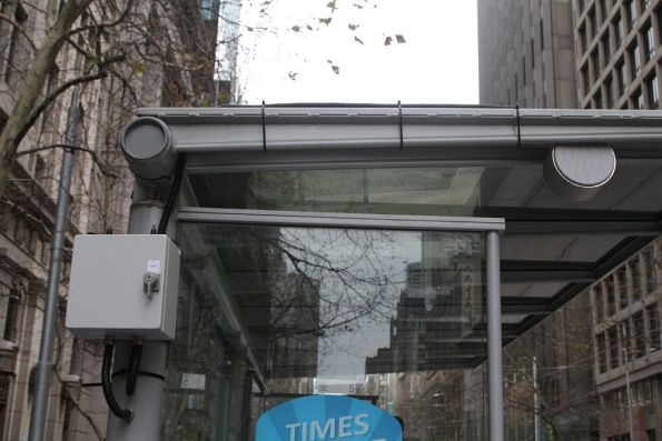 Speaker and control equipment for a PA system at the Collins and Elizabeth Street tram stop