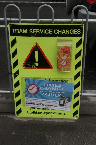 Notification of the upcoming July 27 timetable change at a tram stop on La Trobe Street