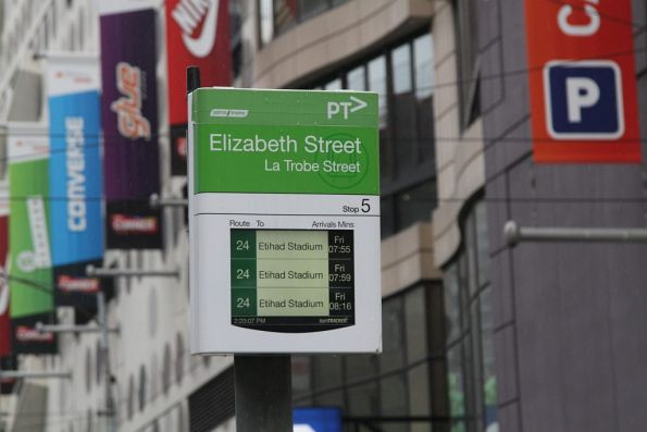 Route 24 services for 6 days time displayed on La Trobe Street, despite the route having been cut the Friday before