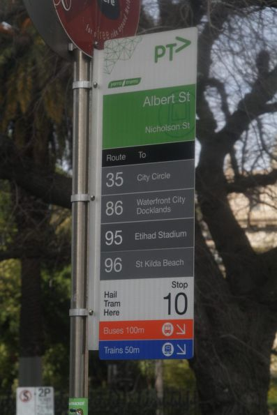 Tram routes 36, 86, 95 and 96 on Nicholson Street at Albert Street
