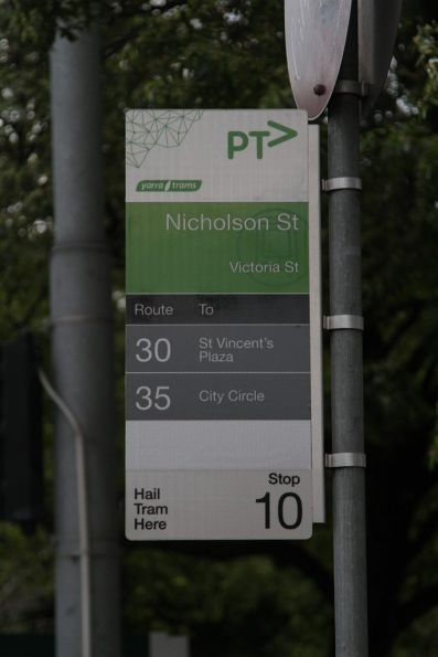 'Route 24 to North Balwyn' covered over at the Victoria Parade and Nicholson Street tram stop